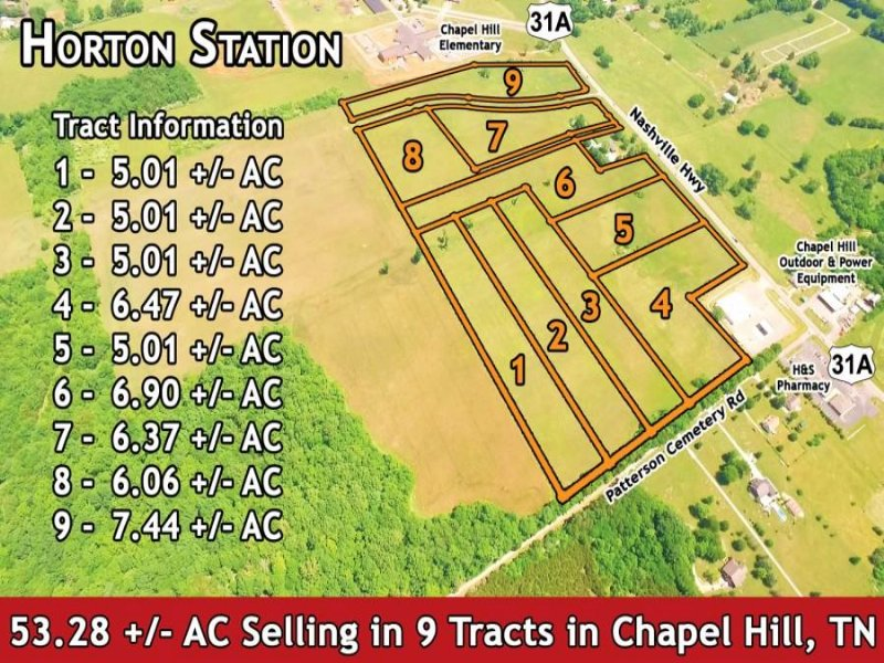 53.28 +/- Ac Selling In 9 Tracts : Chapel Hill : Marshall County : Tennessee