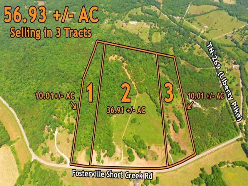 56.93+/- Ac Selling In 3 Tracts : Bell Buckle : Marshall County : Tennessee
