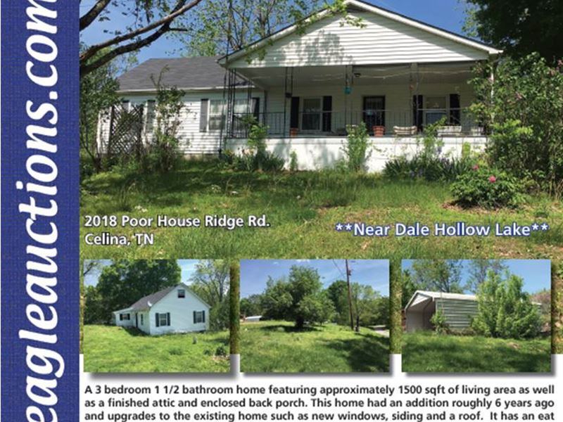 Home, Garage, 11 Ac : Celina : Clay County : Tennessee