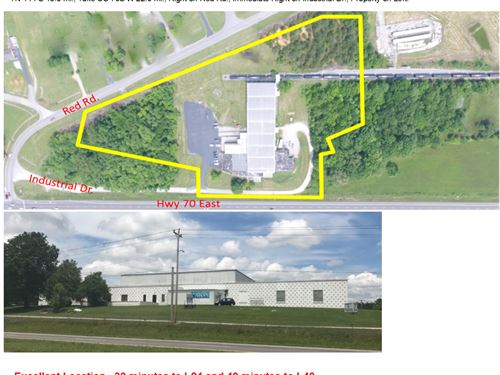47,587 Sqft Comm Bldg On 10 Acres : Mc Minnville : Warren County : Tennessee