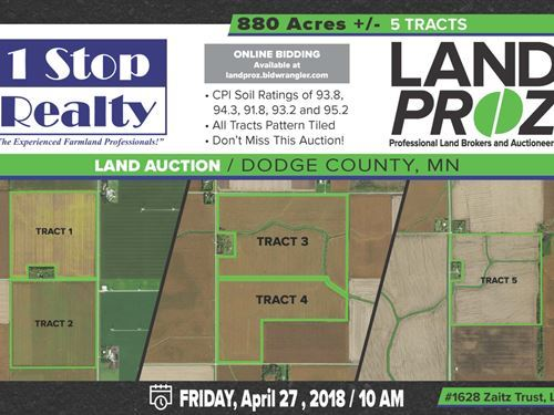 High Quality Farmland For Sale : Dodge Center : Dodge County : Minnesota