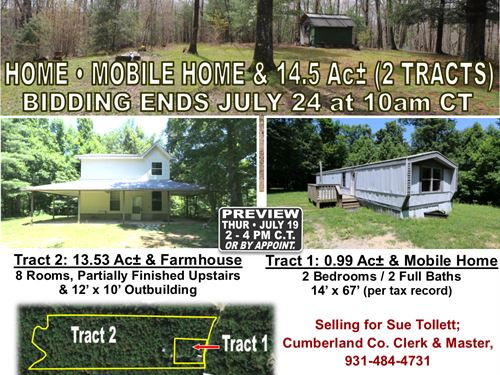 Home & Mobile Home In 2 Tracts : Sparta : Cumberland County : Tennessee
