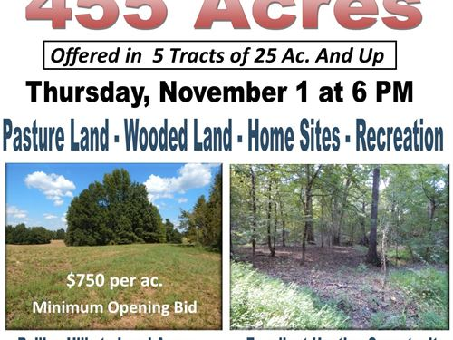 Auction, Hunting Land Pasture Land : Senatobia : Tate County : Mississippi
