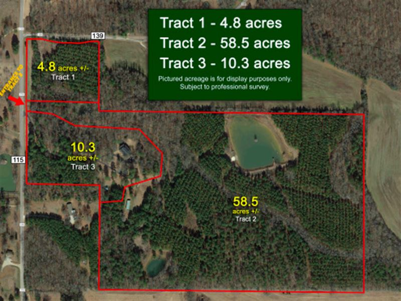 73.6+/- Acres, Offered In 3 Tracts : New Albany : Union County : Mississippi