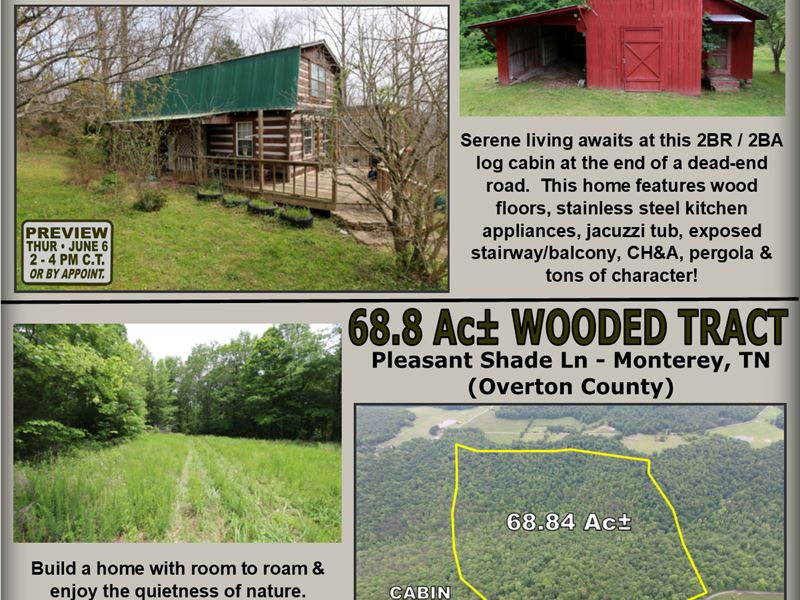 Cabin 0.78 Ac & 68 Ac Tract : Monterey : Overton County : Tennessee