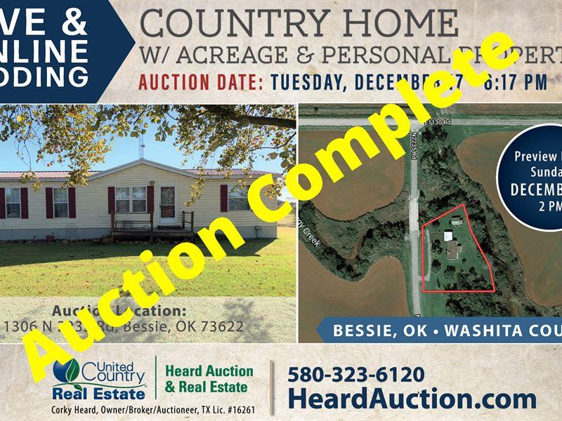 Country Home Acreage, Bessie, OK : Bessie : Washita County : Oklahoma